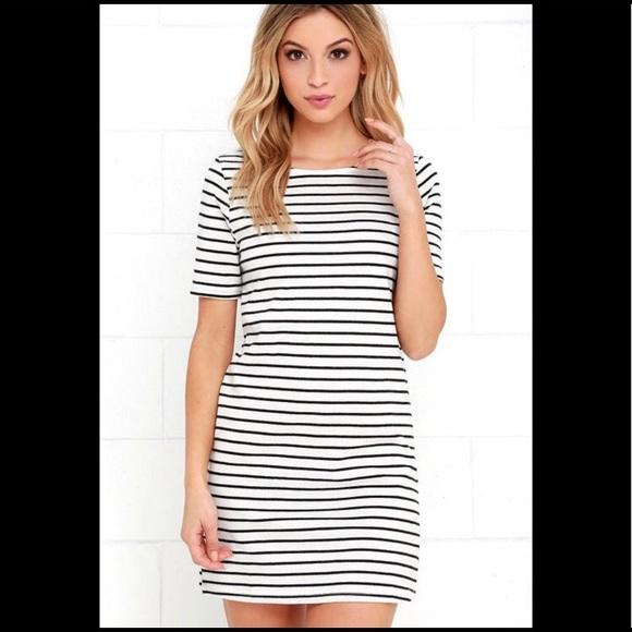 d08f123ae7ce5b Lulu's Dresses | Lulus Black And White Striped Shirt Dress | Poshmark